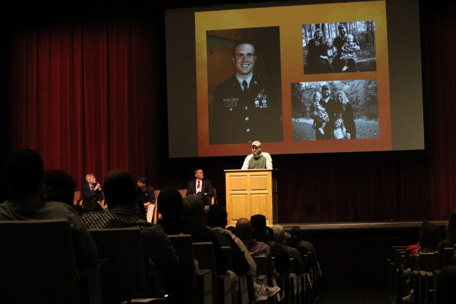 Guest+speakers+Sgt.+Evan+Hutson+%28pictured%29%2C+Mr.+James+McAdams%2C+Mr.+Eric+Burris%2C+and+Chief+John+Clift+share+their+stories+at+the+Veterans+Day+Program+on+Friday%2C+November+11th
