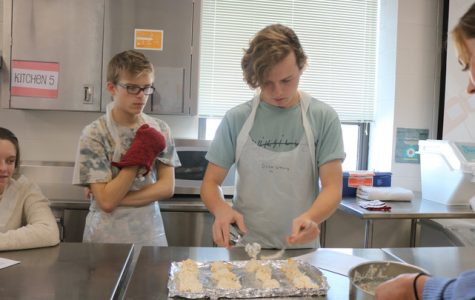 Students make cheddar biscuits in Nutrition and Wellness class to practice cooking skills