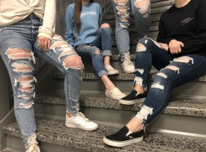 Center Grove students show off their distressed jeans.