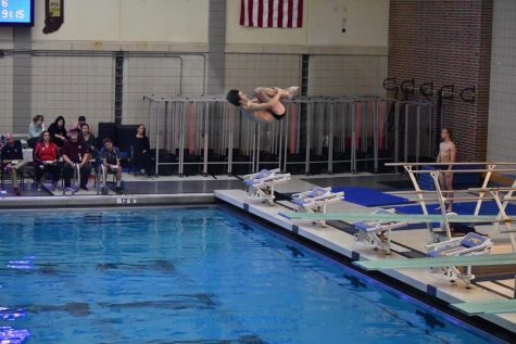 Caleb Crady dives in the Natatorium.