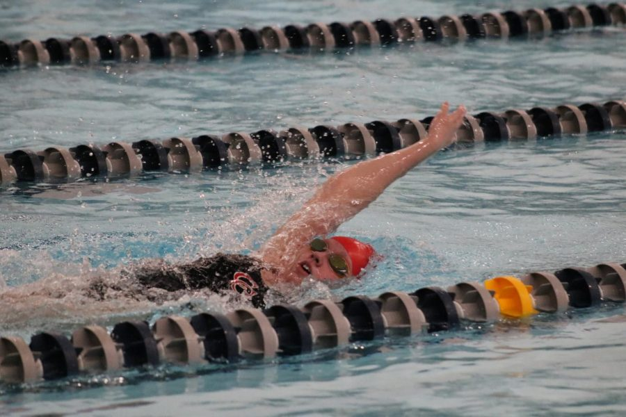 Junior Devin Trammell competes in a backstroke.