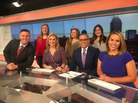 CG Publications students Kelsey Osborne, Olivia Oliver and Maddie Heineman pose for a photo with the RTV6 Morning show cast including Todd Klaassen, Meredith Barack, Rafael Sanchez and Lauren Casey.