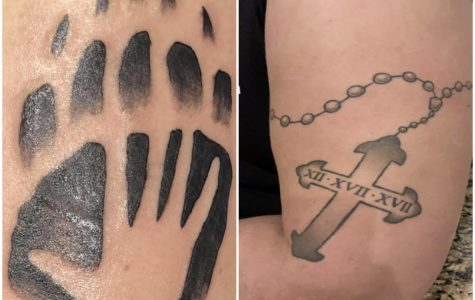 (Left to right) Meg White's tattoo, Andrew Warner's tattoo