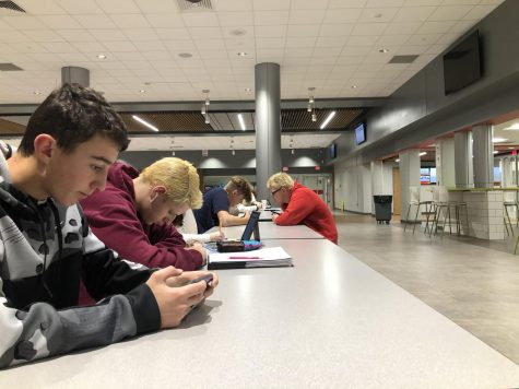 Students work and play on their phones during Period 1 study hall.