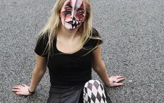 Mayla Panell practices her Nightmare on Edgewood makeup on herself, as well.