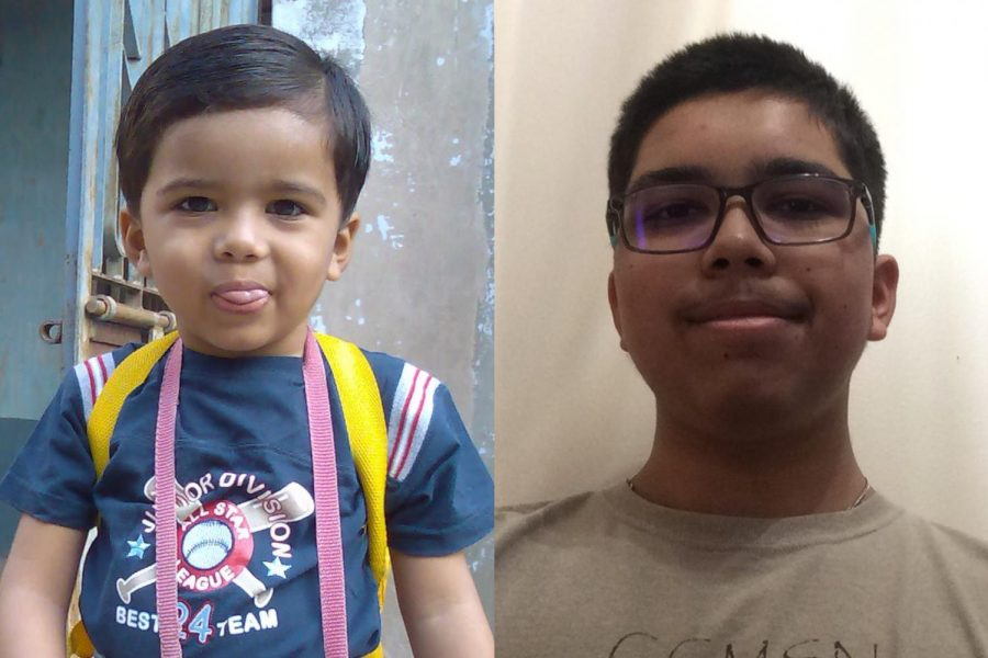 Patel began learning a second language in his kindergarten year (left) and is currently learning his fourth language as a sophomore (right).