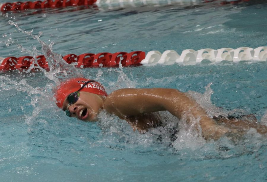 Cira Mazdai '24 swims at a December 16 meet.