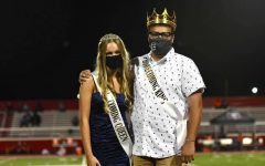 Sam Venegas poses at the Homecoming game after being crowned king of the senior class.
