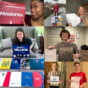 Seniors hold up their college admission letters.