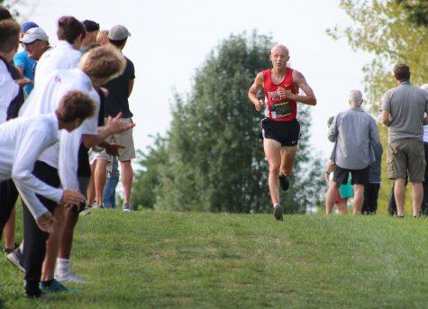 Junior Parker Mimbela runs at a Sept. 11 meet at Ben Davis.