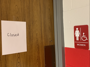 A restroom in the math hallway is labeled closed to all students for use during class. Due to the vandalism occurring within the school in several bathrooms, administrators have only allowed students to use them during passing periods; however, during class, all but four restrooms throughout the school are locked.
