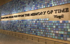 Blue tiles representing the clear blue skies on Sept. 11 line the entrance wall to New York Citys 9/11 Memorial Museum