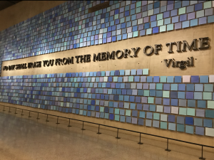 Blue tiles representing the clear blue skies on Sept. 11 line the entrance wall to New York City's 9/11 Memorial Museum